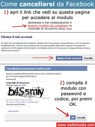 cancellarsi da facebook